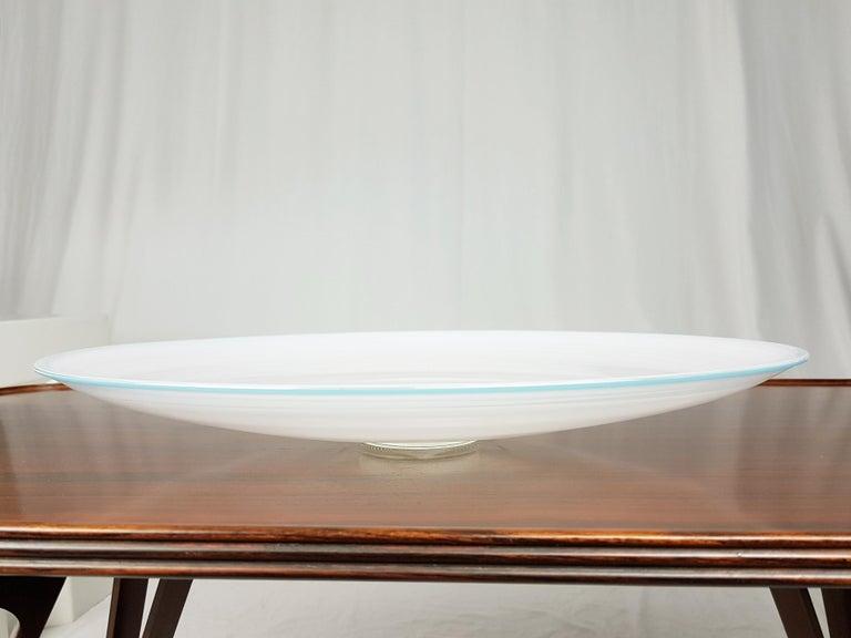 Italian Azure, White & Clear Filigrana Murano Glass Centerpiece Venini Attributed, 1990 For Sale
