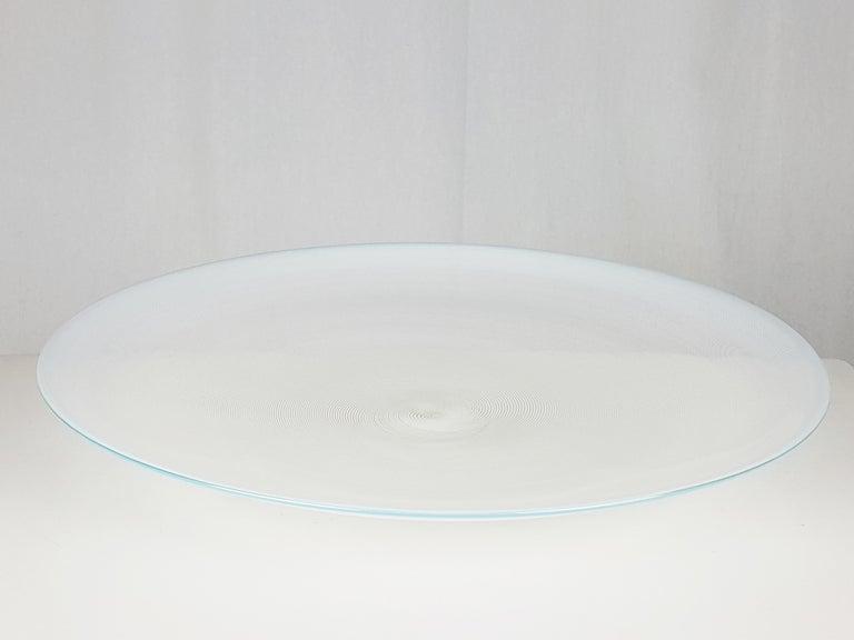 Hand-Crafted Azure, White & Clear Filigrana Murano Glass Centerpiece Venini Attributed, 1990 For Sale