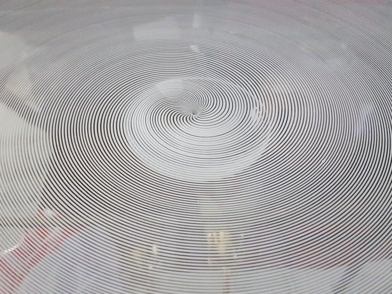 Azure, White & Clear Filigrana Murano Glass Centerpiece Venini Attributed, 1990 For Sale 2