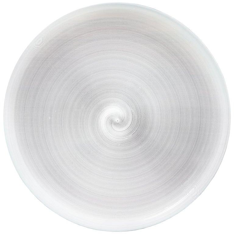Azure, White & Clear Filigrana Murano Glass Centerpiece Venini Attributed, 1990 For Sale