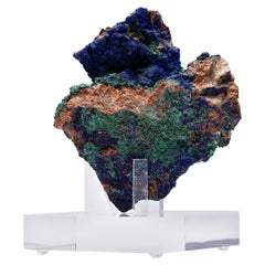Azurite and Malachite Specimen from Morocco Mounted on Custom Acrylic Stand