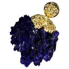Azurite Crystals Gold Pendant Raw Uncut Moroccan Stone Ultramarine Magic Healing