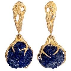 Azurite Crystals Yellow Gold Earrings Pendant Deep Blue Gemstone Dangle Unisex