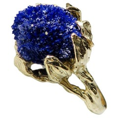 Azurite Gold Ring Natural Unisex Gem Deep Blue Raw Uncut Crystals Flower Petals