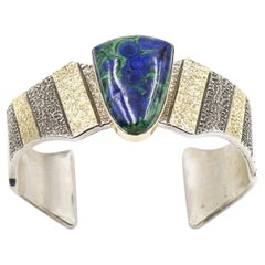 Azurite Malachite Gold and Silver Cuff Bracelet by Apache Marc Antia