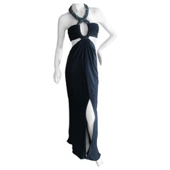 Azzaro Black Cut Out Evening Dress with Bold Crystal Jewel Details