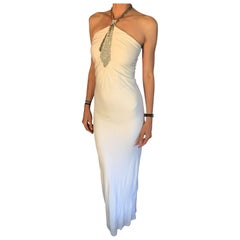 Azzaro Couture Iconic Crystal Jeweled Embellished White Evening Dress Gown