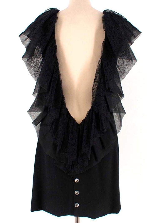 Black Azzaro Gazette Wool Backless Lace Dress - Size US 6