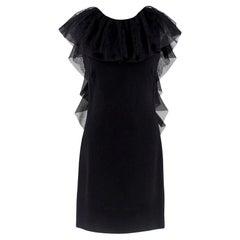 Azzaro Gazette Wool Backless Lace Dress - Size US 6