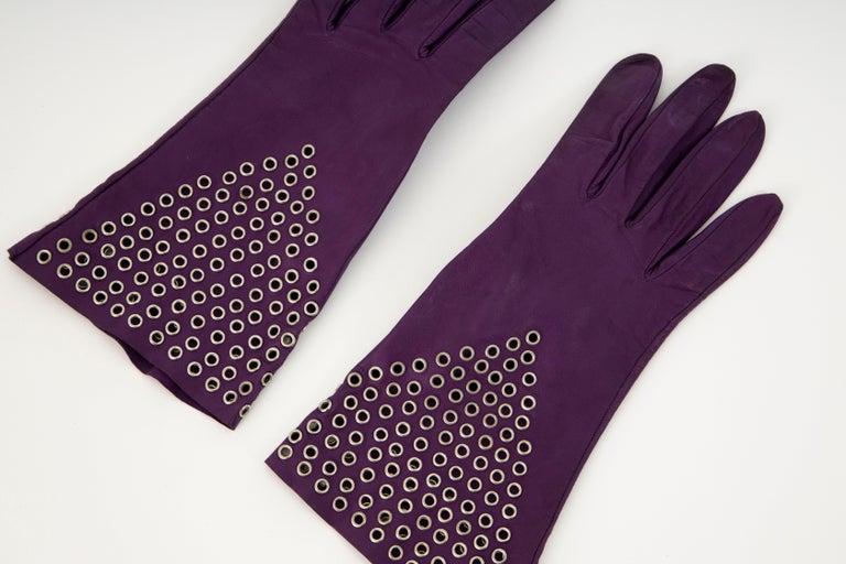 Black Azzedine Alai Plum Leather Gloves with Gold-Tone Grommets, Circa: 1980's For Sale
