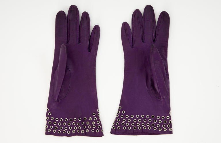 Azzedine Alai Plum Leather Gloves with Gold-Tone Grommets, Circa: 1980's In Excellent Condition For Sale In Cincinnati, OH