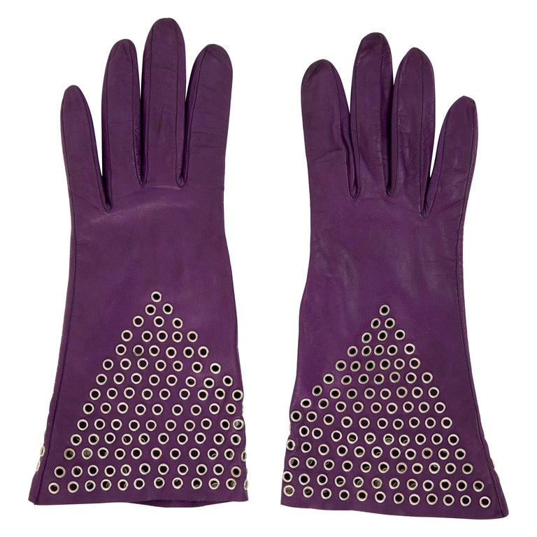 Azzedine Alai Plum Leather Gloves with Gold-Tone Grommets, Circa: 1980's For Sale