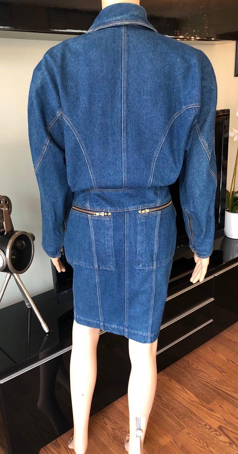 Azzedine Alaia 1980's Vintage Motorcycle Zipper Denim Coat Dress For Sale 5
