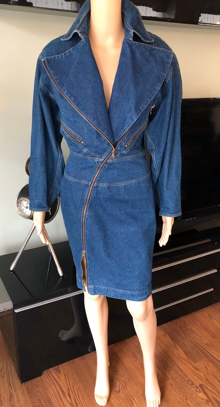 Azzedine Alaia 1980's Vintage Motorcycle Zipper Denim Coat Dress For Sale 7