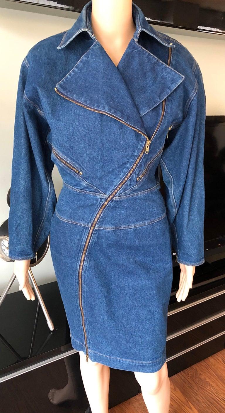 Blue Azzedine Alaia 1980's Vintage Motorcycle Zipper Denim Coat Dress For Sale