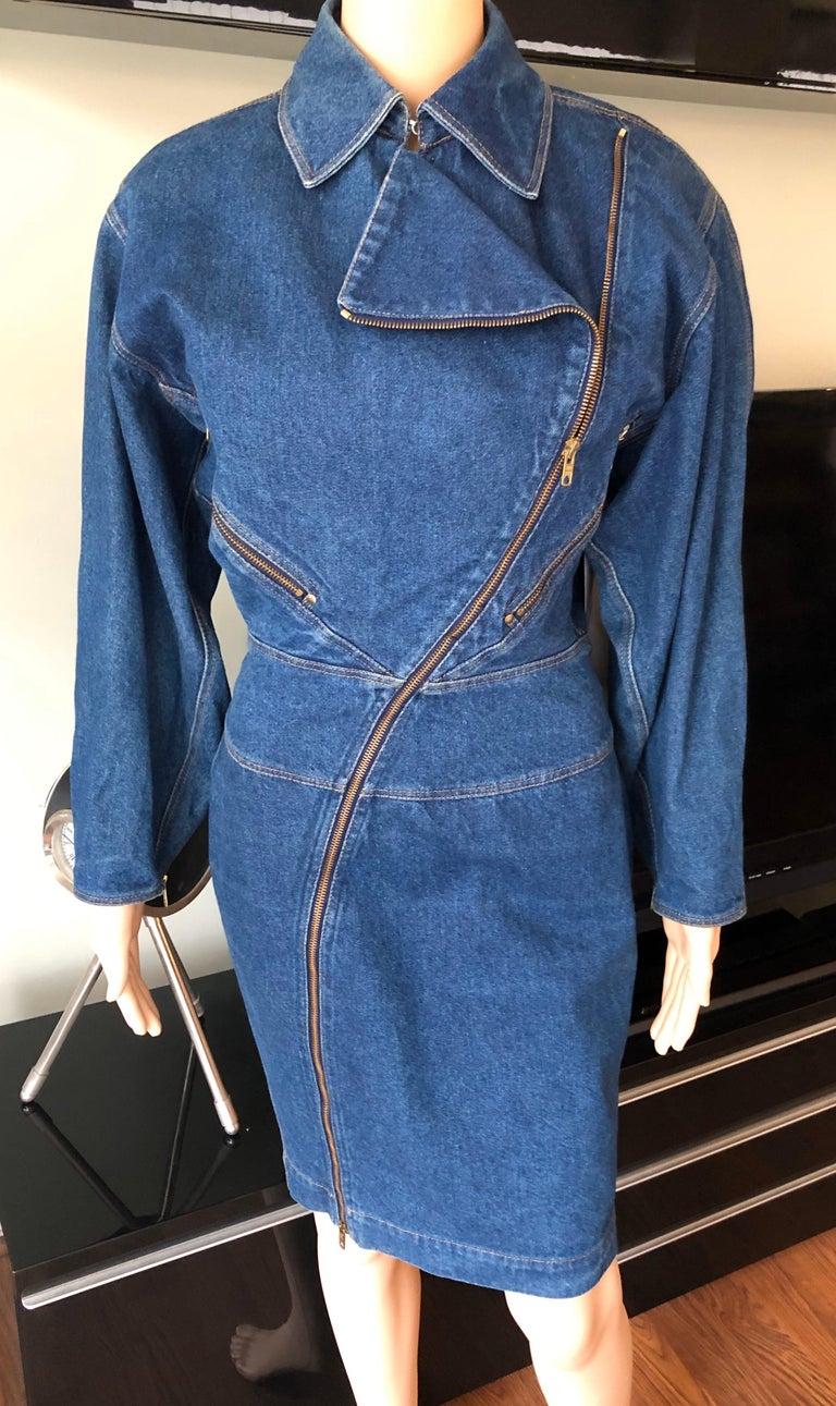 Azzedine Alaia 1980's Vintage Motorcycle Zipper Denim Coat Dress In Good Condition For Sale In Totowa, NJ