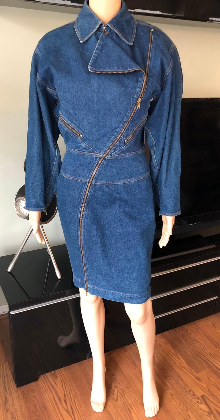 Women's or Men's Azzedine Alaia 1980's Vintage Motorcycle Zipper Denim Coat Dress For Sale