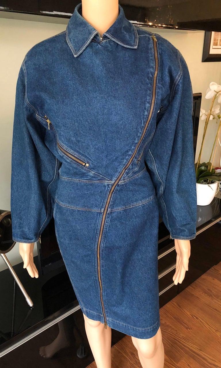 Azzedine Alaia 1980's Vintage Motorcycle Zipper Denim Coat Dress For Sale 1