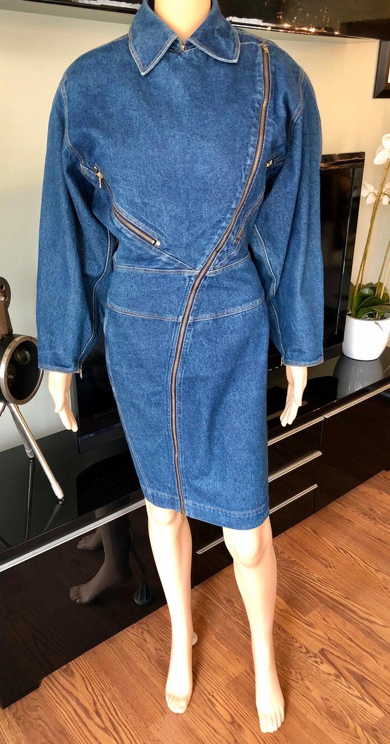 Azzedine Alaia 1980's Vintage Motorcycle Zipper Denim Coat Dress For Sale 2