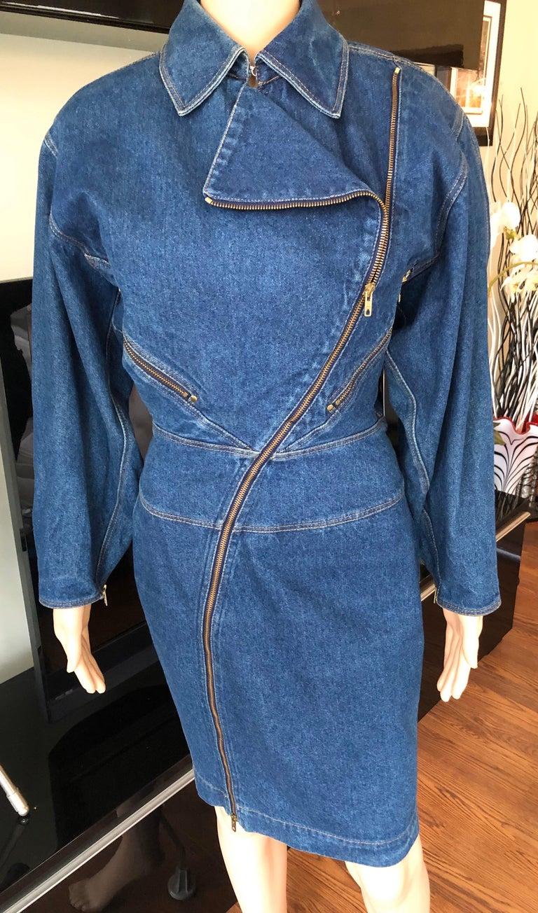 Azzedine Alaia 1980's Vintage Motorcycle Zipper Denim Coat Dress For Sale 3