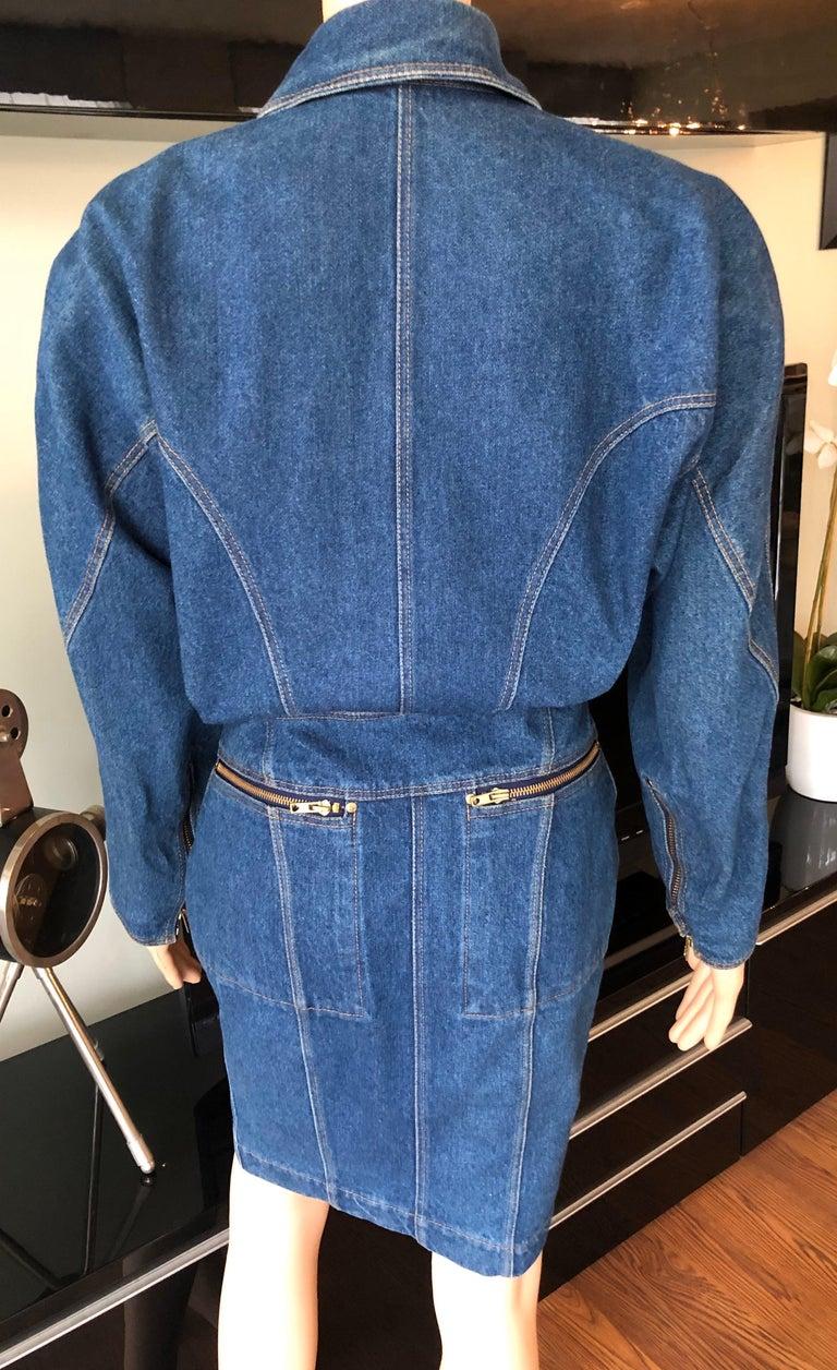 Azzedine Alaia 1980's Vintage Motorcycle Zipper Denim Coat Dress For Sale 4