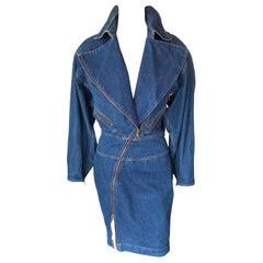 Azzedine Alaia 1980's Vintage Motorcycle Zipper Denim Coat Dress