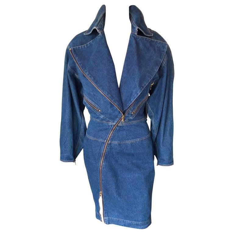 Azzedine Alaia 1980's Vintage Motorcycle Zipper Denim Coat Dress For Sale