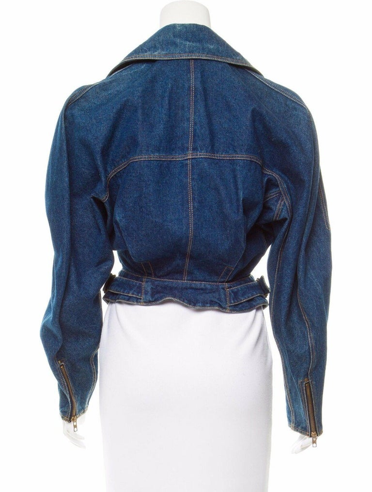 *Azzedine Alaia 1986 Vintage Denim Jacket Coat  For Sale 1