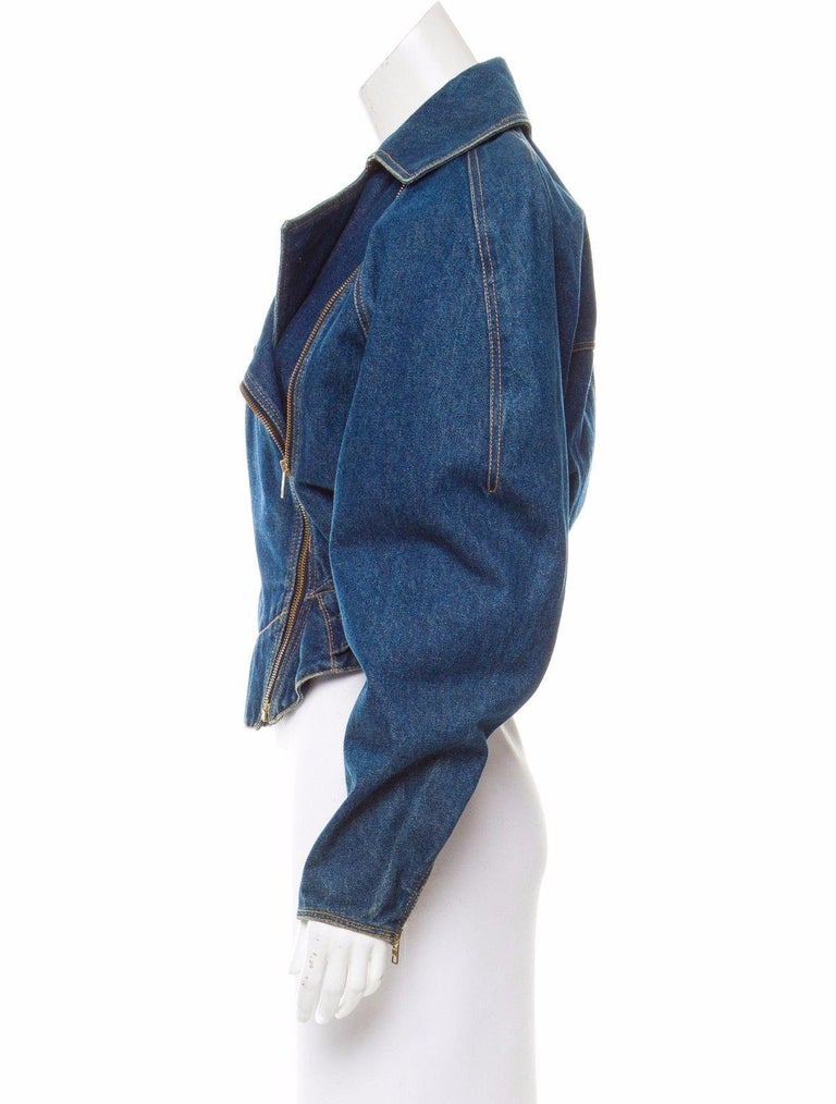 *Azzedine Alaia 1986 Vintage Denim Jacket Coat  For Sale 2