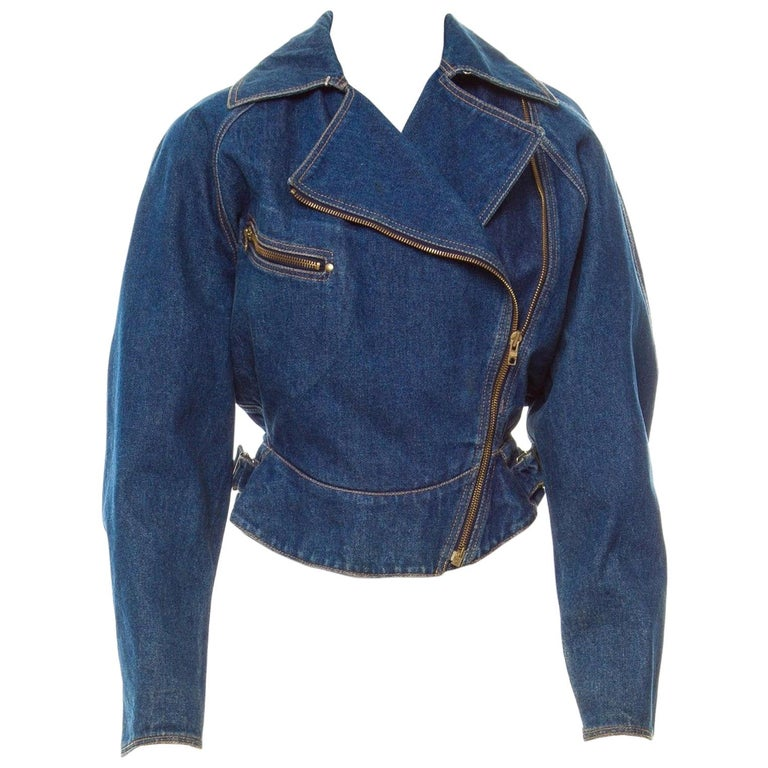 *Azzedine Alaia 1986 Vintage Denim Jacket Coat  For Sale