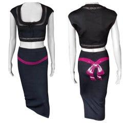 Azzedine Alaia 1990's Vintage Bow Skirt and Crop Top Ensemble 2 Piece Set
