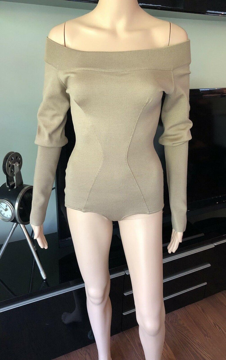 Brown Azzedine Alaia 1990's Vintage Fitted Bodysuit Romper For Sale