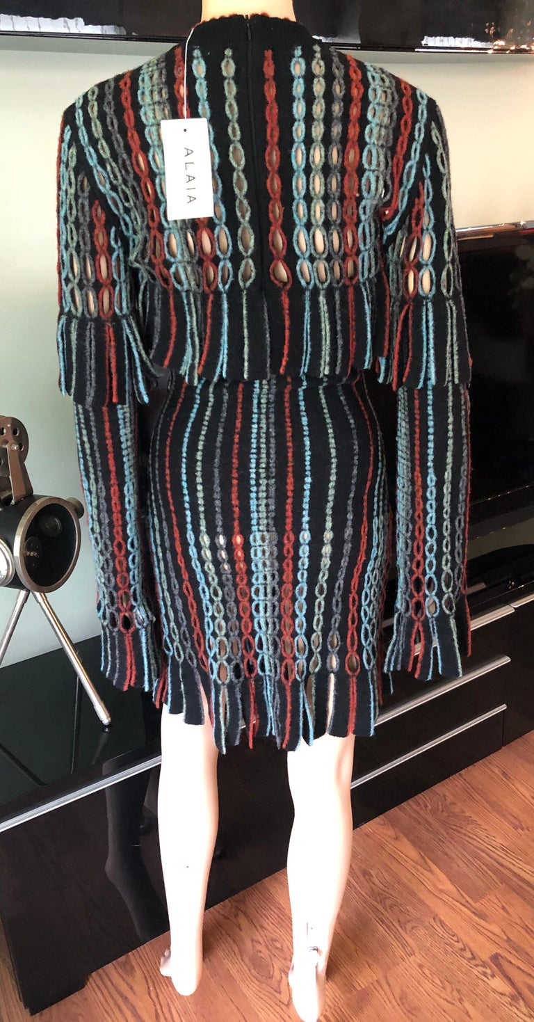 Azzedine Alaia 1990's Vintage Knit Fringed Laser Cut Dress In Excellent Condition For Sale In Totowa, NJ