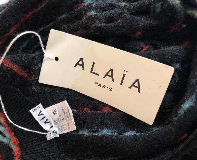 Women's Azzedine Alaia 1990's Vintage Knit Fringed Laser Cut Dress For Sale