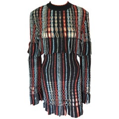 Azzedine Alaia 1990's Vintage Knit Fringed Laser Cut Dress