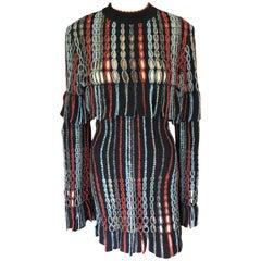 Azzedine Alaia 1990's Vintage Knit Fringed Laser Cut Dress