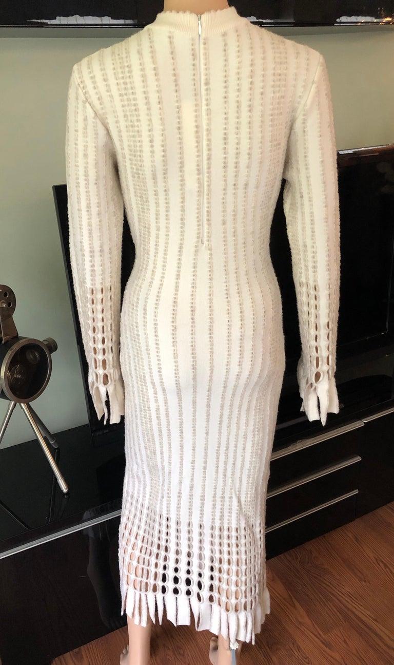 Beige Azzedine Alaia 1990's Vintage Knit Fringed Laser Cut Midi Dress For Sale