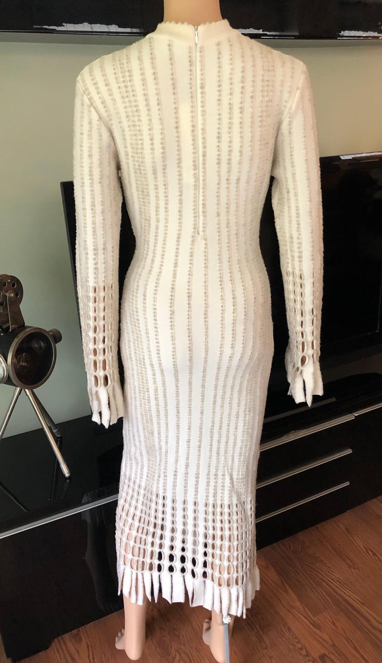 Azzedine Alaia 1990's Vintage Knit Fringed Laser Cut Midi Dress In Good Condition For Sale In Totowa, NJ
