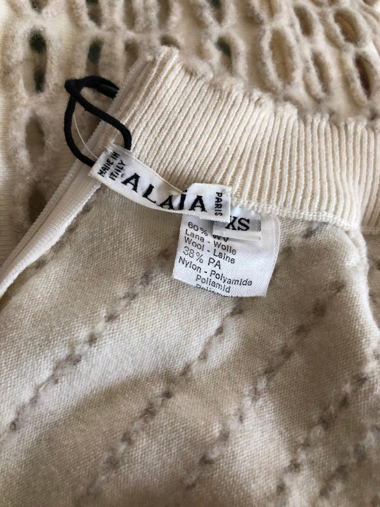 Women's Azzedine Alaia 1990's Vintage Knit Fringed Laser Cut Midi Dress For Sale