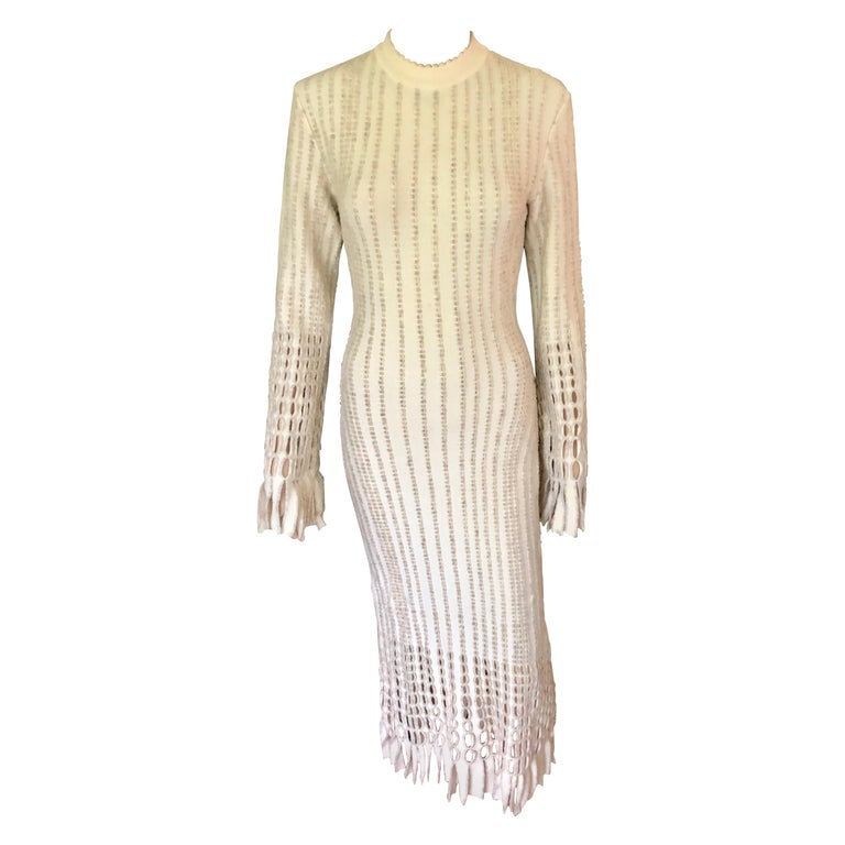 Azzedine Alaia 1990's Vintage Knit Fringed Laser Cut Midi Dress For Sale