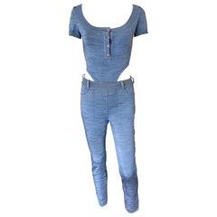 Azzedine Alaia 1990's Vintage Legging Pants & Bodysuit Top 2 Piece Set Ensemble