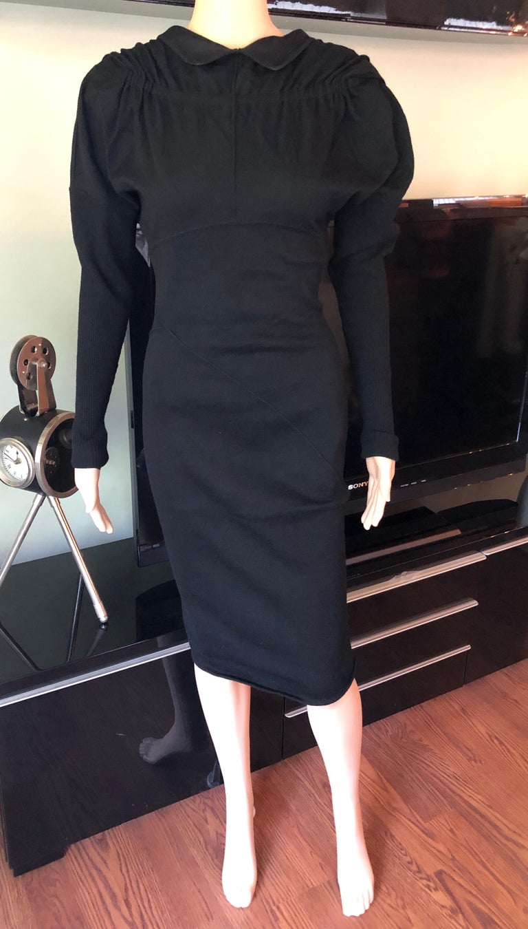 Azzedine Alaia 1990's Vintage Open Back Long Sleeve Midi Black Dress In Good Condition For Sale In Totowa, NJ