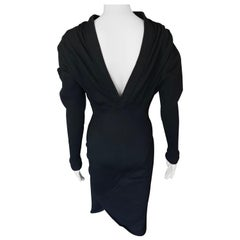 Azzedine Alaia 1990's Vintage Open Back Long Sleeve Midi Black Dress