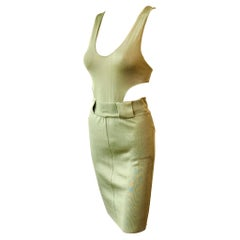 Azzedine Alaia 1990's Vintage Plunged Cutout Bodycon Green Dress