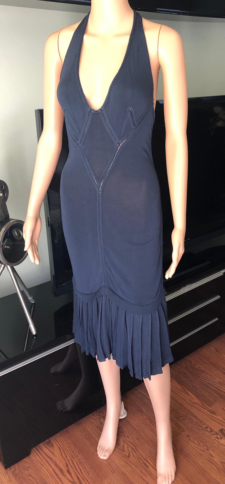 Azzedine Alaia 1990's Vintage Plunging Semi-Sheer Midi Dress Size XS  Vintage Alaia sleeveless midi dress with open knit trim throughout, plunging neckline and flared hem.