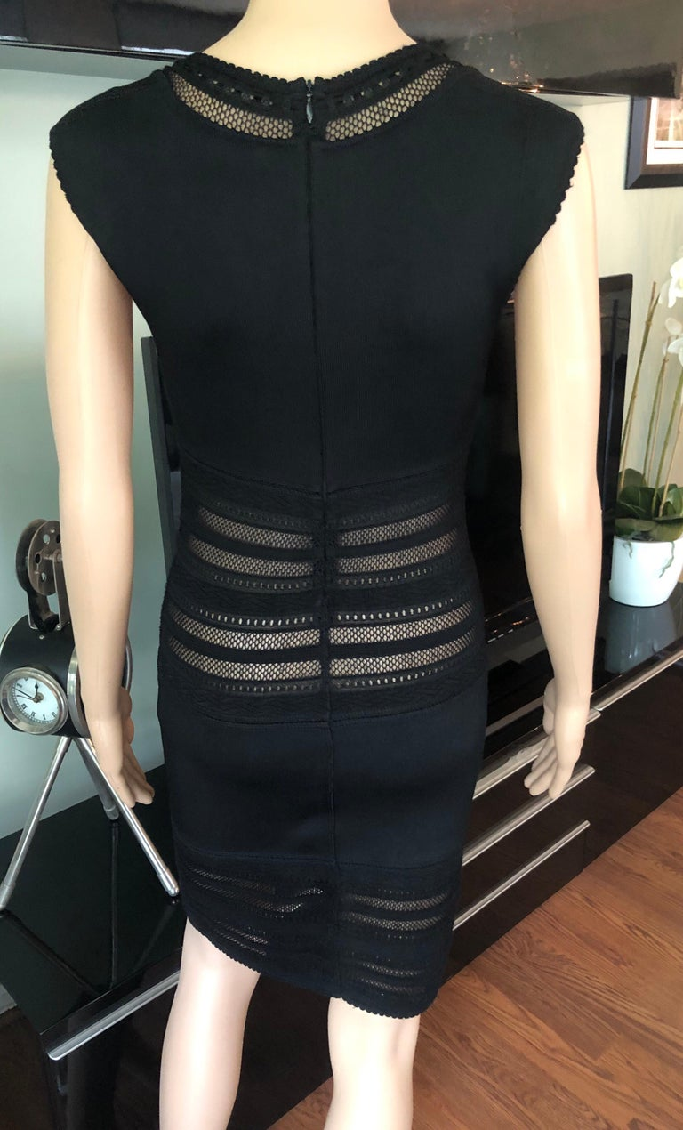 Azzedine Alaia 1990's Vintage Semi-Sheer Crochet Knit Bodycon Black Dress For Sale 1