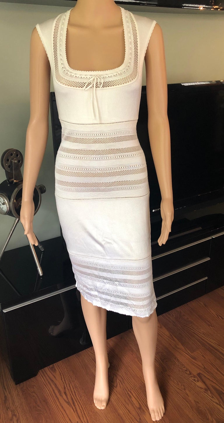 Azzedine Alaia 1990's Vintage Semi-Sheer Crochet Knit Dress In Good Condition For Sale In Totowa, NJ
