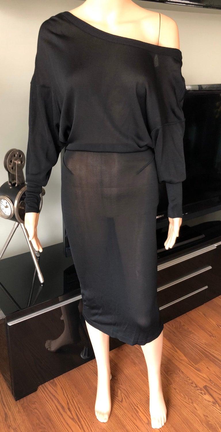 Azzedine Alaia 1990's Vintage Semi-Sheer Open Back Black Dress In Good Condition For Sale In Totowa, NJ