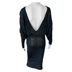 Azzedine Alaia 1990's Vintage Semi-Sheer Open Back Black Dress