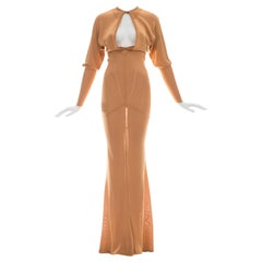 Azzedine Alaia apricot acetate knit evening dress, ca. 1986